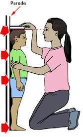 N aimagem uma mãe mede a altura do filho encostado á parede na simpatia para curar bronquite